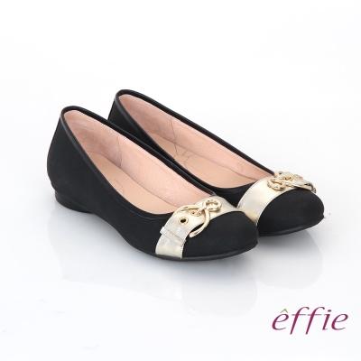 effie 都會休閒 全真皮金屬皮帶飾扣低跟鞋 黑