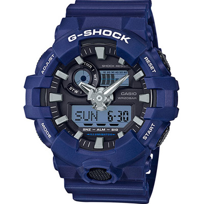 G-SHOCK 3D立體雙顯式運動錶(GA-700-2A)-藍/53.4mm