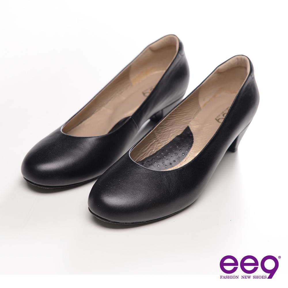 ee9 都會簡約~復古純色霧面真皮質感高跟鞋~專業黑