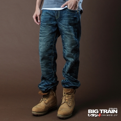 BIG TRAIN-3D後袋雲紋繡中直垮褲-中藍