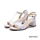 達芙妮DAPHNE 涼鞋-一字帶粗跟涼鞋-白