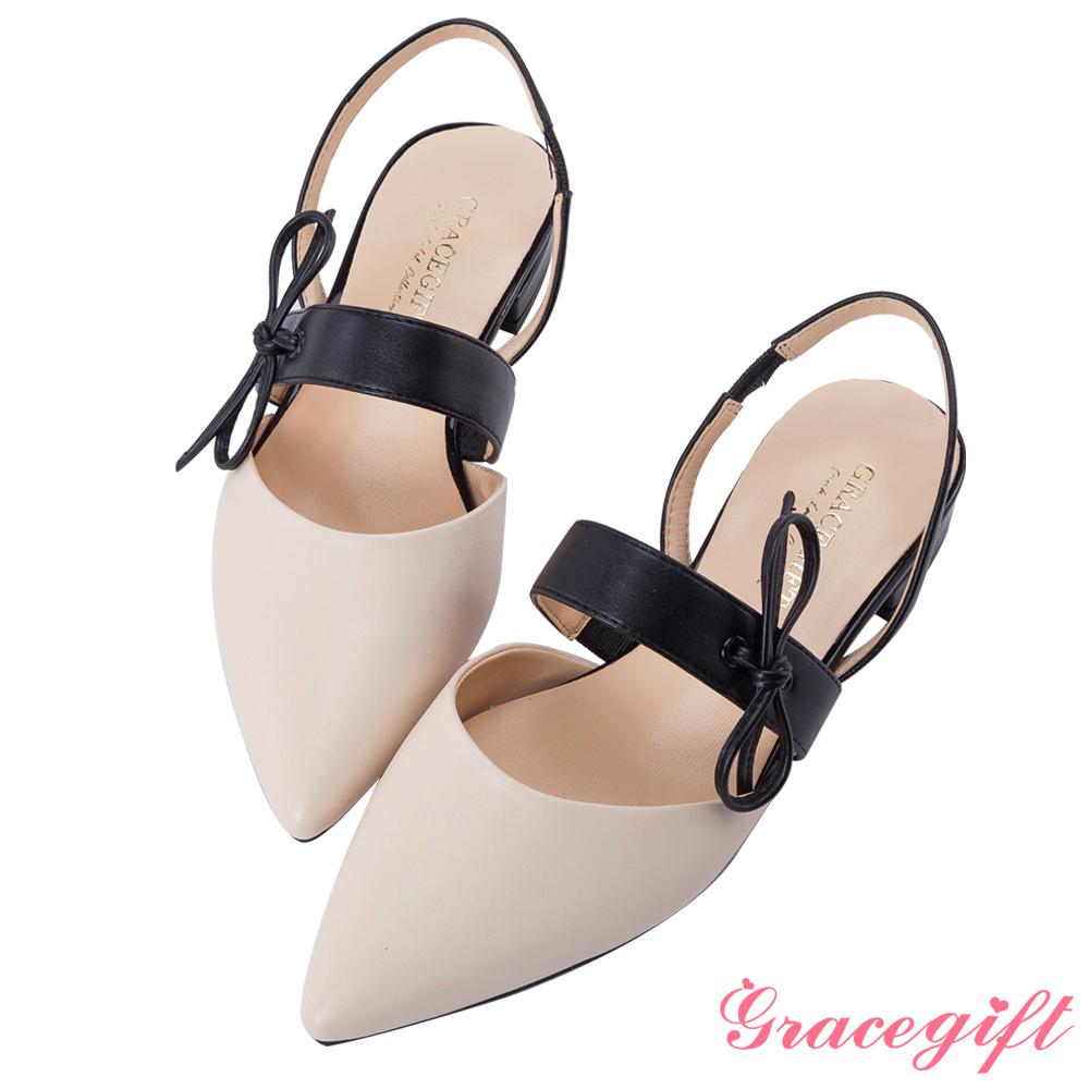 Grace gift-綁結條帶後縷空尖頭平底鞋 米白