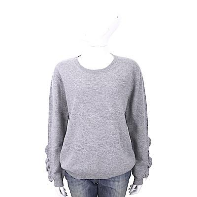 ALLUDE 喀什米爾荷葉細節灰色針織羊毛衫