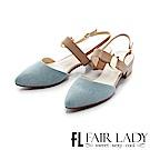 Fair Lady尖頭設計寬版繫帶粗跟涼鞋 牛仔藍