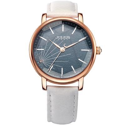 JULIUS聚利時 復刻凝光點鑽立體大鏡面腕錶-白/38mm