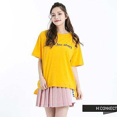 H:CONNECT 韓國品牌 女裝 -側緞帶標語T-Shirt-黃