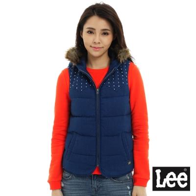 Lee 羽絨101+連帽背心 -女款-藍