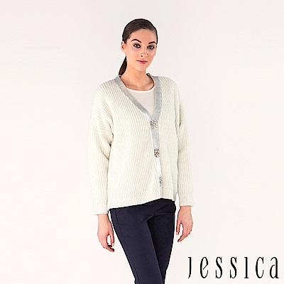 JESSICA - 混羊毛鑽飾針織開襟衫外套(白)
