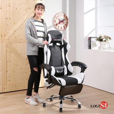 LOGIS- KLV戰地皮面坐臥電競椅/白黑 電腦椅 主管椅 賽車椅 皮椅