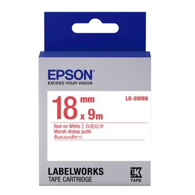 EPSON C53S655402 LK-5WRN一般系列白底紅字標籤帶(寬度18mm)