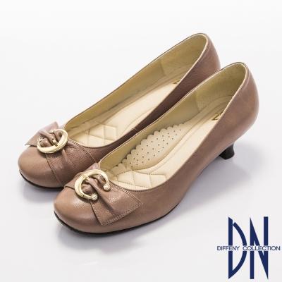 DN-優雅通勤-柔軟羊皮金屬飾扣低跟鞋-藕