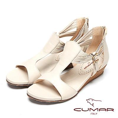 CUMAR秀麗典雅-時尚品味真皮坡跟涼鞋-芋色