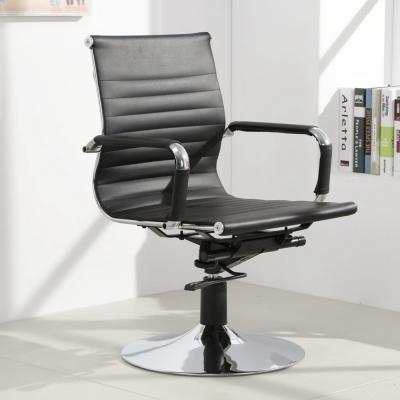 LOGIS邏爵-安菲米皮革低背吧椅 梳妝椅 辦公椅 事務椅-黑色