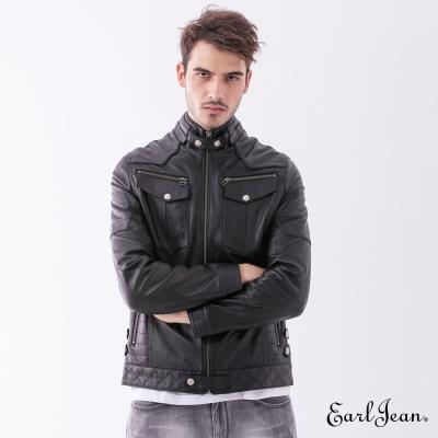 Earl Jean 闇銀大口袋羊皮夾克-黑色-男