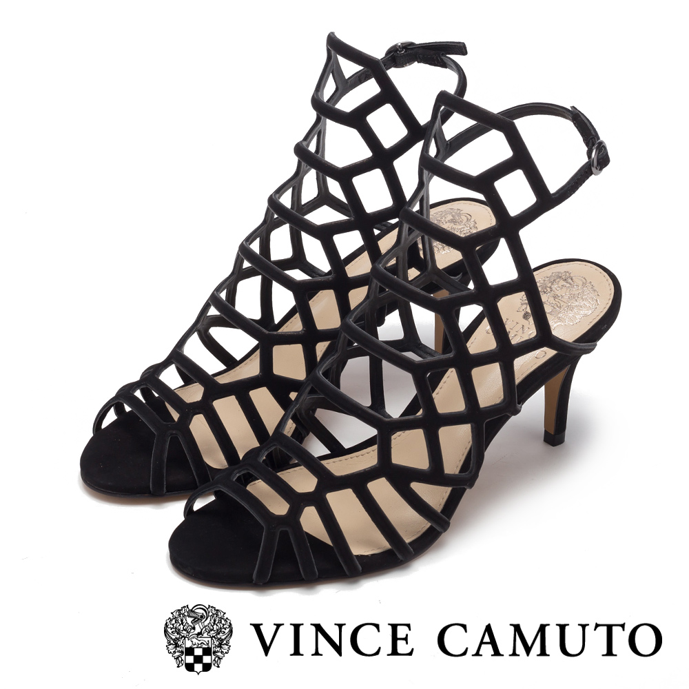Vince Camuto 美型簍空幾何高跟涼鞋-黑色