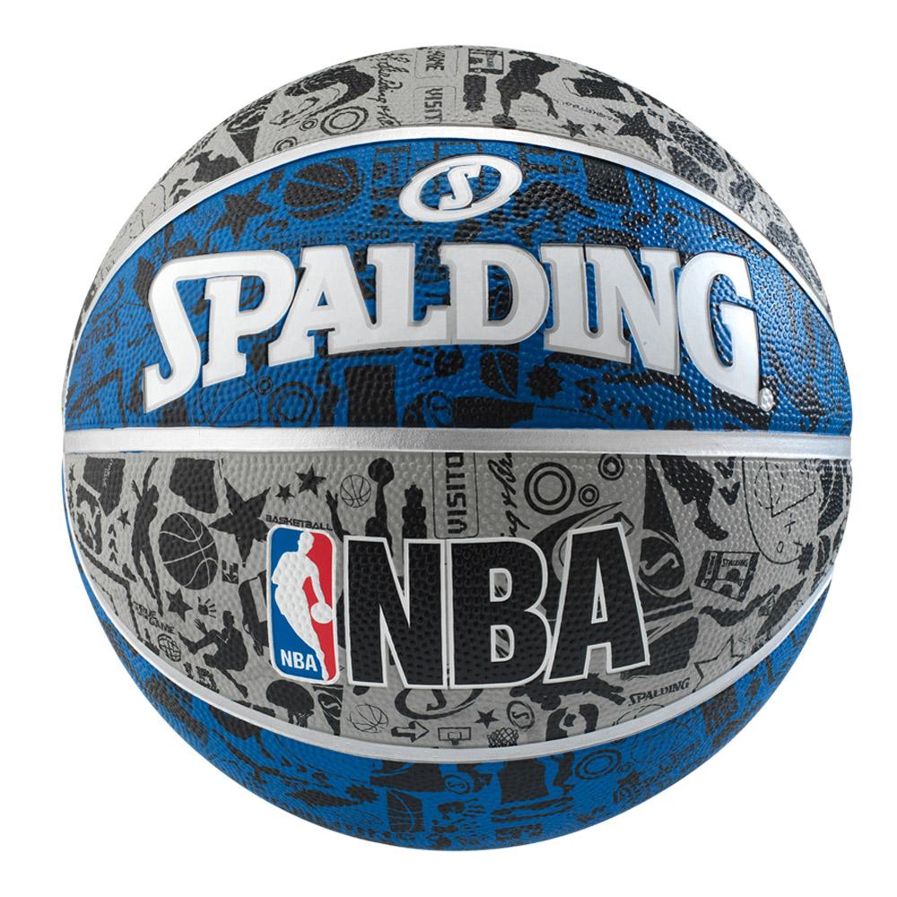 SPALDING 斯伯丁 NBA 塗鴉系列 籃球7號 灰/藍/黑