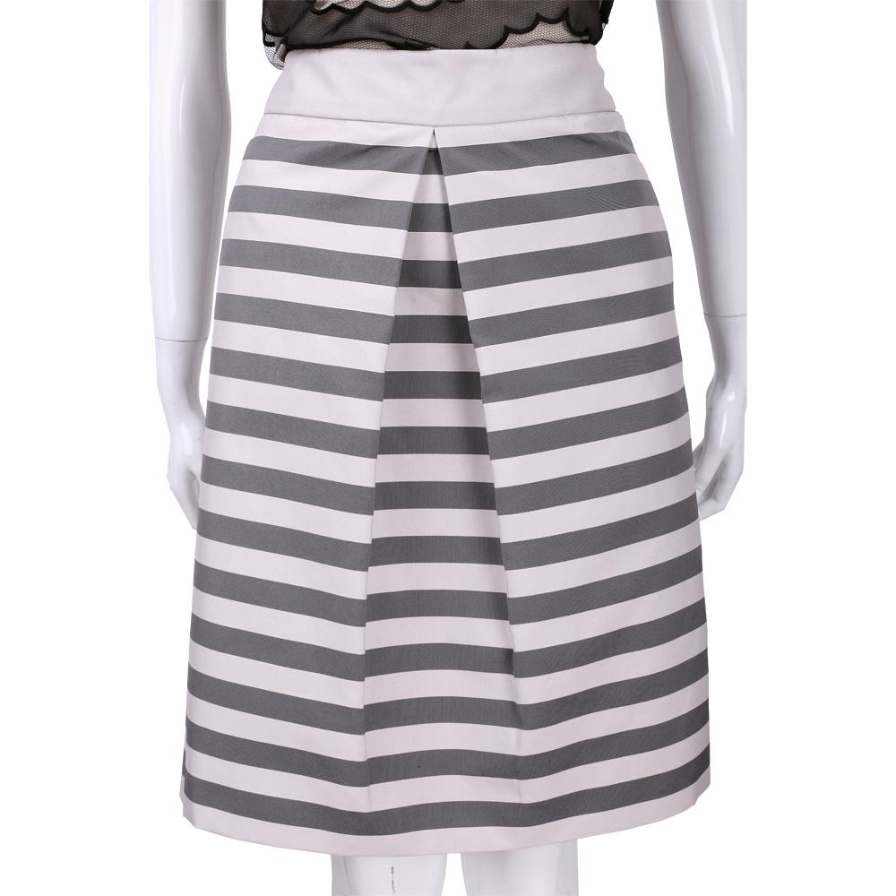 Max Mara-WEEKEND 灰粉色條紋抓褶及膝裙
