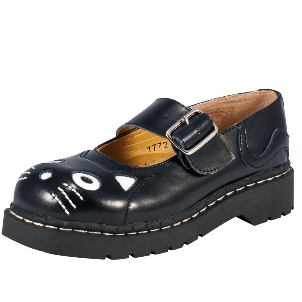 TUK可愛小黑貓瑪麗珍鞋-黑