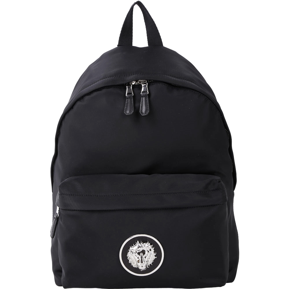 Versus Versace LION 經典立體獅頭徽章尼龍後背包(黑色)