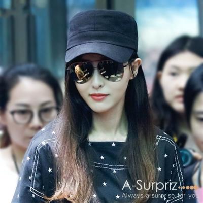 A-Surpriz 韓風潮流純色軍帽(黑)