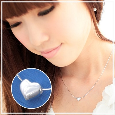【維克維娜】微甜愛戀。銀亮愛心設計款 925純銀項鍊