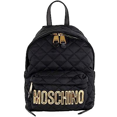 Moschino 品牌金色字母LOGO圖騰尼龍菱格紋後背包(小/黑)