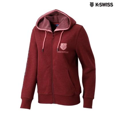 K-Swiss KSRC Hoodie Jacket休閒連帽外套-女-棗紅