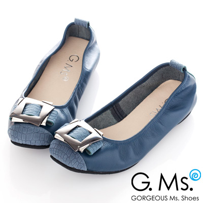 G.Ms. MIT系列-拼接鱷魚紋金屬飾釦牛皮娃娃鞋-奢華藍