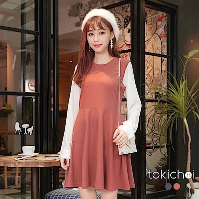 東京著衣 氣質韓妞異材質拼接洋裝-S.M(共二色)