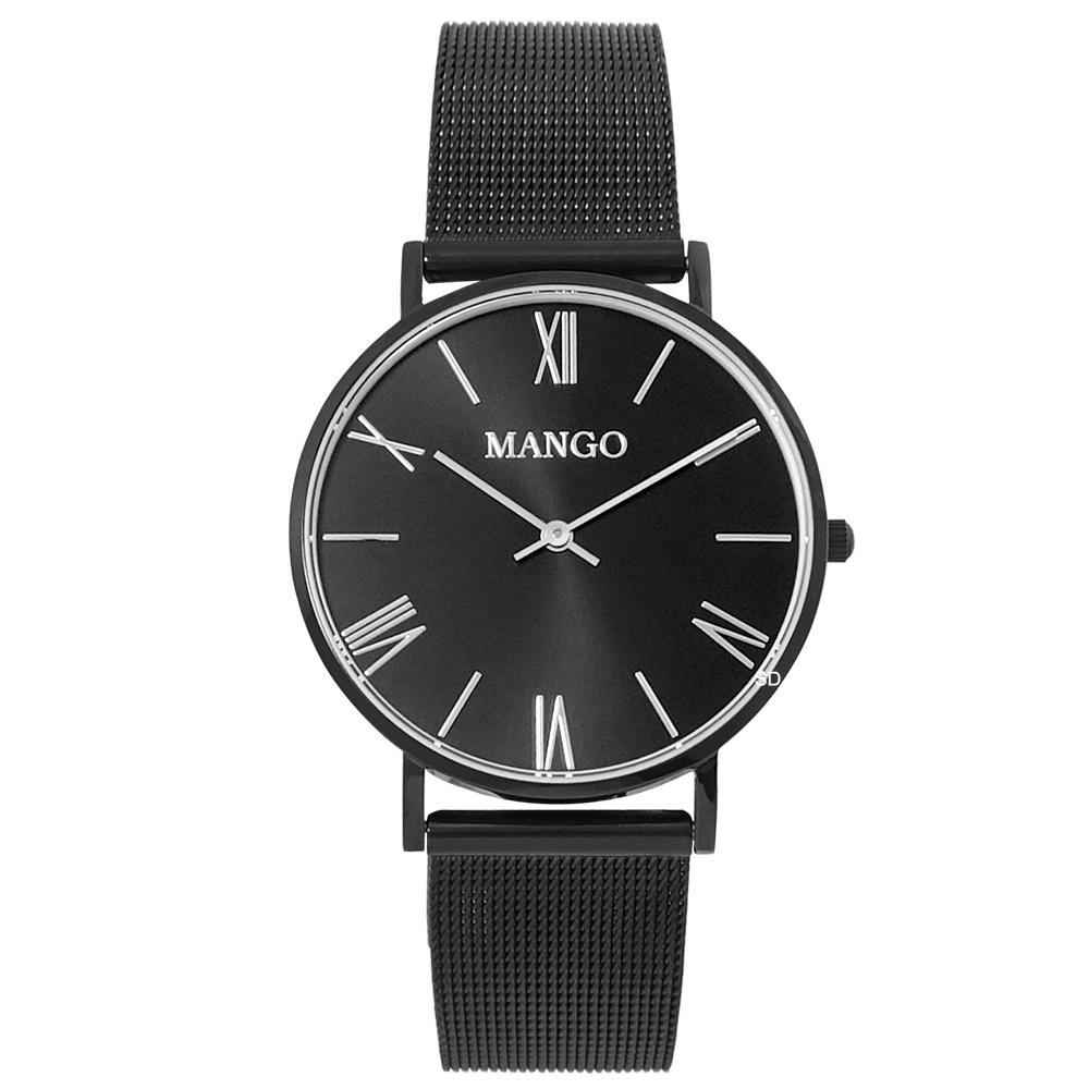 MANGO羅馬時標米蘭帶時尚手錶-黑/37mm