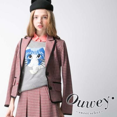 OUWEY歐薇-復古學院滿版千鳥紋西裝外套