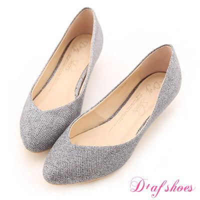 D+AF 星星指標‧金蔥閃料小V口尖頭低跟鞋*閃耀銀灰