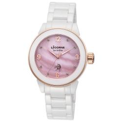 LICORNE力抗錶 晶鑽時尚簡約陶瓷手錶 粉玫金x白/40mm