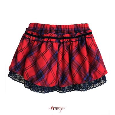 Annys鮮豔蘇格蘭格紋高級蕾絲襯裡短裙*5262紅