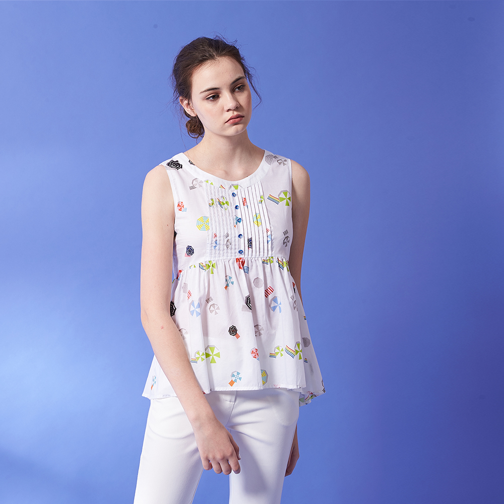 ICHE 衣哲 時尚繽紛糖果印花細摺設計無袖造型上衣-白