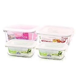 樂扣樂扣耐熱玻璃保鮮盒-嘗鮮4件組