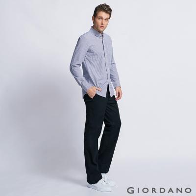GIORDANO 男裝中腰標準直筒彈性休閒褲 - 09 經典黑