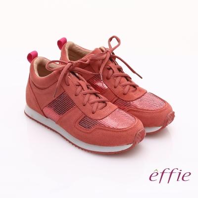 effie 心機美型 絨面真皮亮片綁帶奈米休閒鞋 桃粉