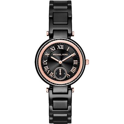 Michael Kors 陶瓷羅馬小秒針錶-黑x玫瑰金框/33mm