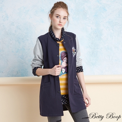 Betty Boop 配色磨毛長版棒球外套(共二色)