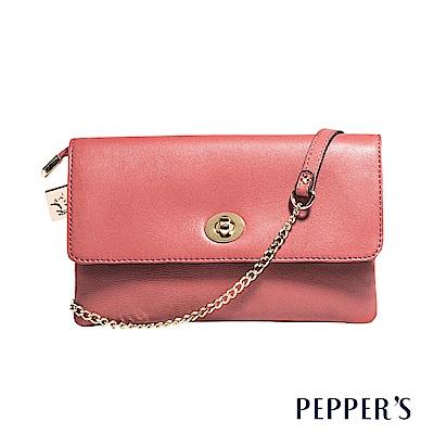 PEPPER`S Ellie 羊皮轉鎖小斜背包 - 珊瑚粉