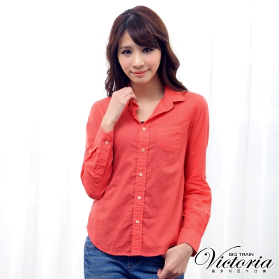 Victoria 休閒短版長袖襯衫-女-橘紅