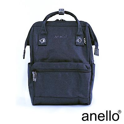 日本正版anello 高雅混色紋理 刺繡LOGO後背包〈深藍色NV〉M