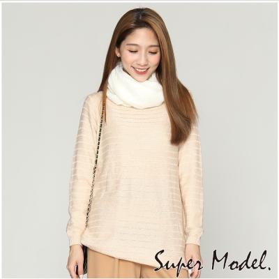 韓系橫紋針織衫-米白色(F可選)   名模衣櫃