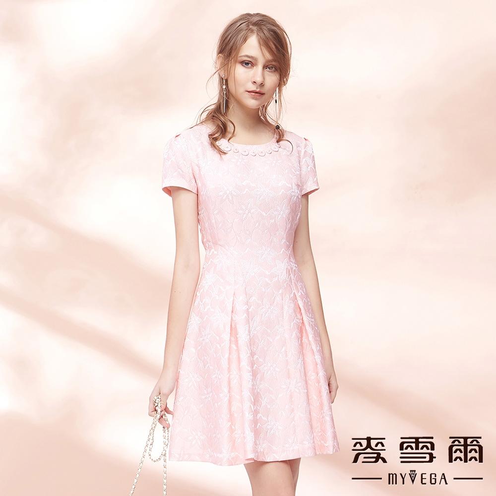 麥雪爾-日系優雅印花立體剪裁收腰洋裝