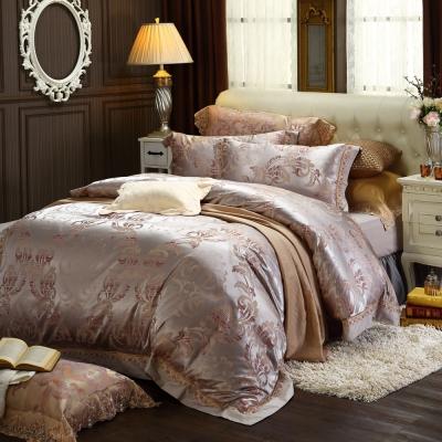 HOYACASA光燦年華 雙人四件式絲棉緹花兩用被床包組