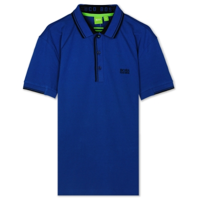 HUGO BOSS 綠標滾黑邊素面POLO男衫(寶藍)