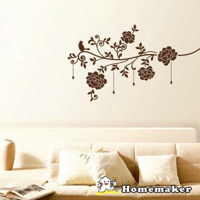 FIXPIX_優雅鳥與富貴花(絨布)-創意壁貼 (HVS-58612)