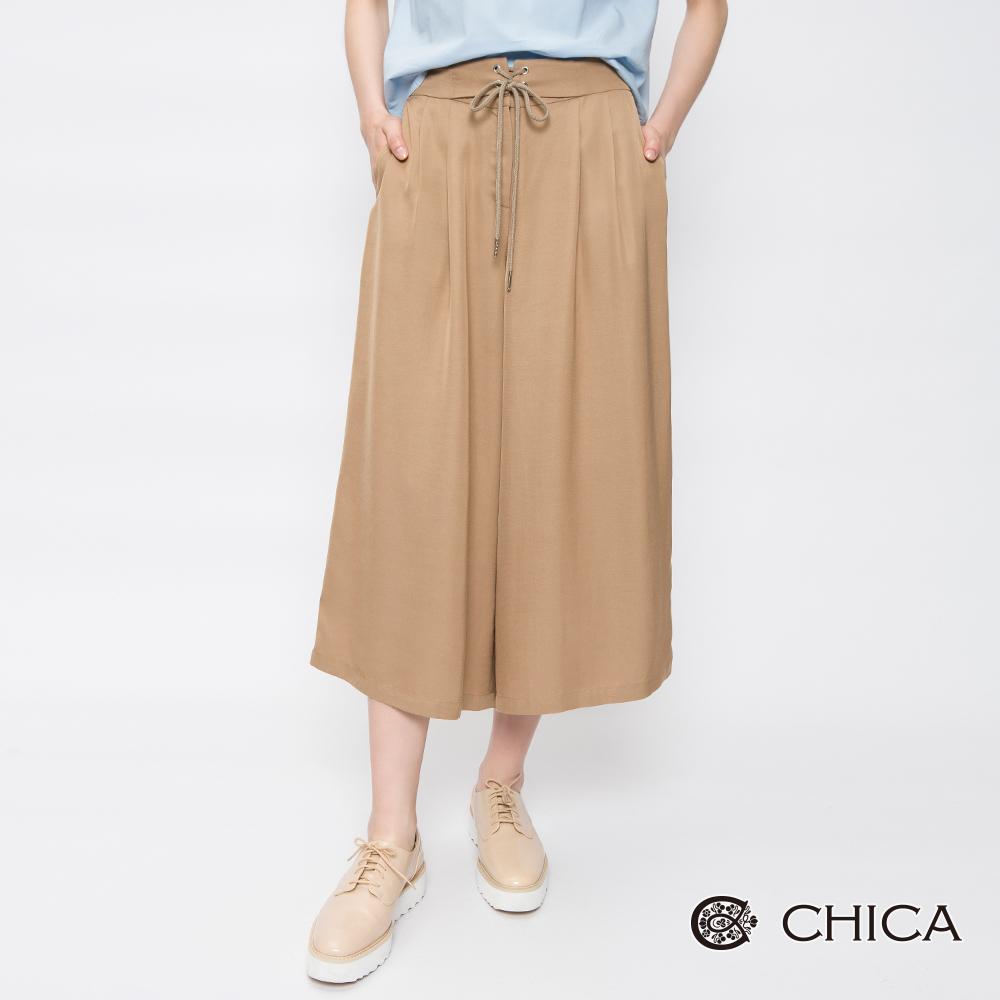 CHICA 簡約宮廷風綁帶腰封軟料寬褲(2色)