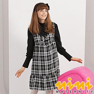 《nini專櫃孕婦裝》大方俏麗格紋秋冬孕婦背心洋裝-黑(U2W01)